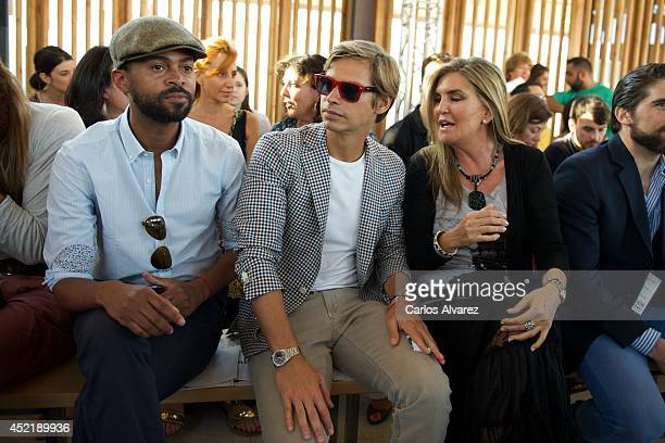 Paulo Wilson singer Carlos Baute and Susana Uribarri attend the Jockey show during MFSHOW 2014 day 2 at COAM on July 15 2014 in Madrid Spain