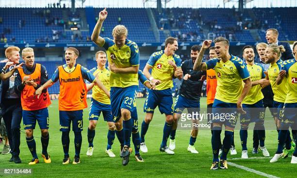 Paulus Arajuuri and Jan Kliment of Brondby IF celebrate after the Danish Alka Superliga match between Brondby IF and FC Copenhagen at Brondby Stadion...