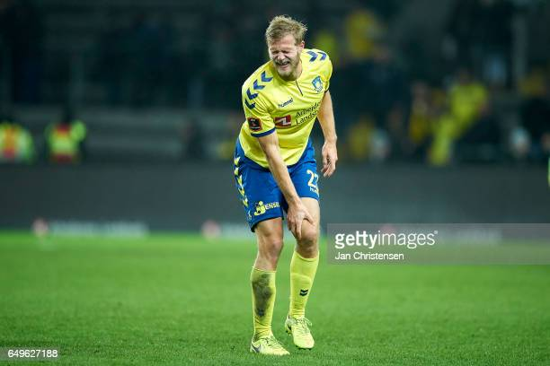 Paulus Arajuuri of Brondby IF get an injury during the Danish Cup DBU Pokalen match between BK Marienlyst and Brondby IF at Brondby Stadion on March...