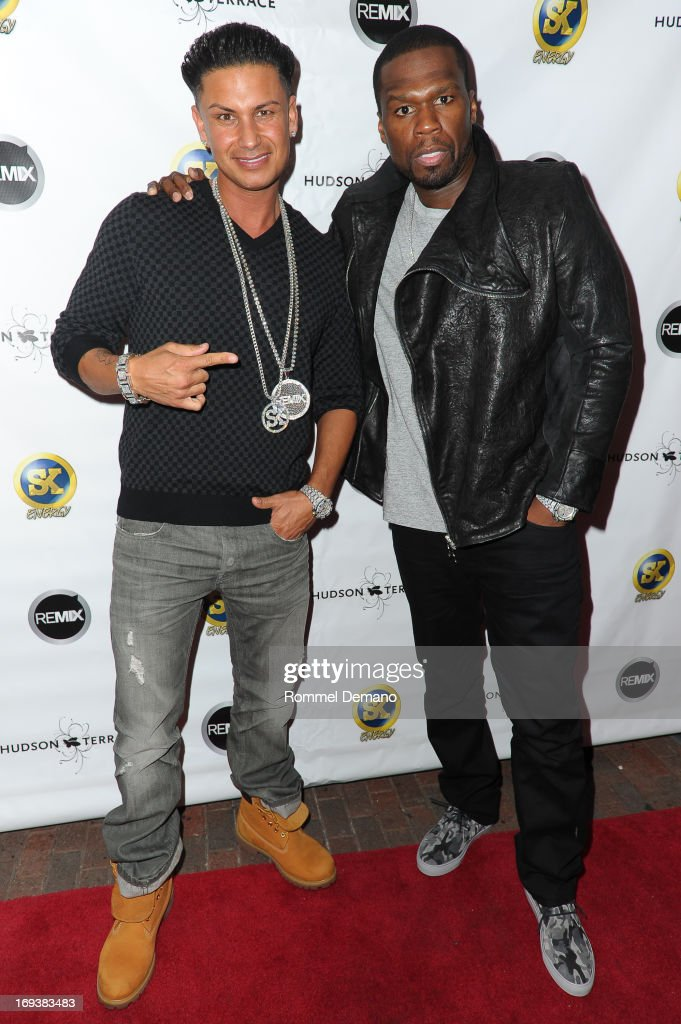DJ Pauly D and Curtis '<a gi-track='captionPersonalityLinkClicked' href=/galleries/search?phrase=50+Cent+-+Rapper&family=editorial&specificpeople=215363 ng-click='$event.stopPropagation()'>50 Cent</a>' Jackson attend Hot Summer Kick Off Party at Hudson Terrace on May 23, 2013 in New York City.