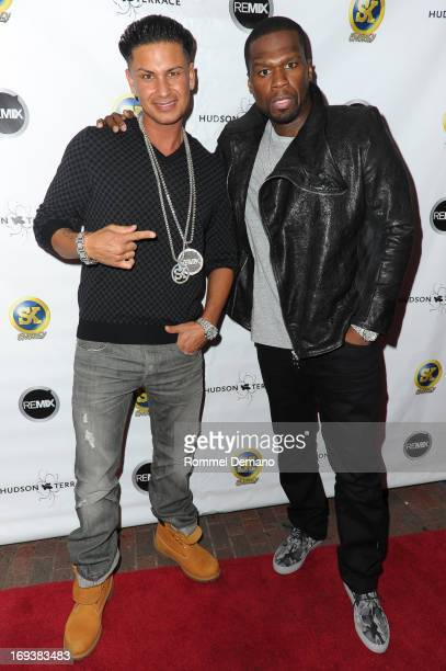 DJ Pauly D and Curtis '50 Cent' Jackson attend Hot Summer Kick Off Party at Hudson Terrace on May 23 2013 in New York City