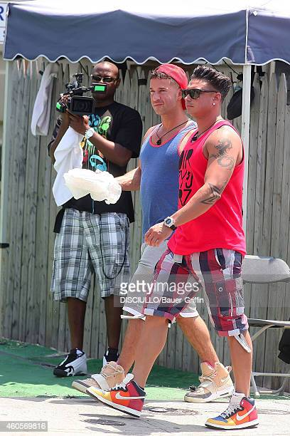 Pauly D and Mike Sorrentino are seen on the set of 'Jersey Shore' on June 28 2012 in New York City