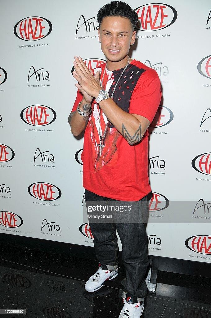 DJ Pauly D arrives at Haze Nightclub at Aria on July 6, 2013 in Las Vegas, Nevada.