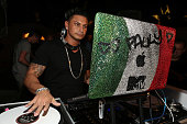 Pauly D spins during the WWE SummerSlam VIP KickOff Party at Beverly Hills Hotel on August 16 2012 in Beverly Hills California