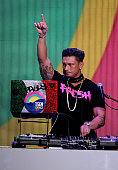 Pauly D spins onstage during the 2012 Teen Choice Awards at Gibson Amphitheatre on July 22 2012 in Universal City California