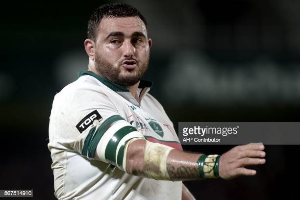 Pau's French prop Malik Hamadache gestures as he reacts during the French Top 14 rugby union match between Section Paloise and Montpellier Herault...