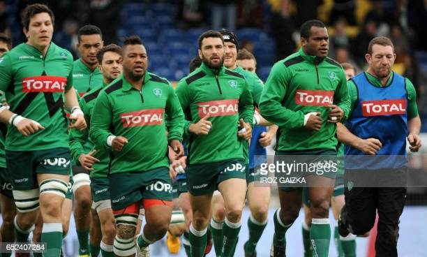 Pau's players warm up before the French Top 14 rugby union match between Section Paloise and Castres Olympique at the Hameau stadium on March 12 2017...