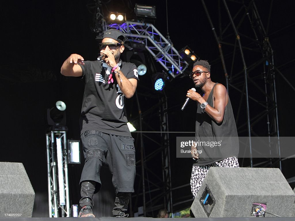 Pavan Mukhi and Ebow Graham of Foreign Beggars perform on stage on day 1 of Lovebox Festival 2013 at Victoria Park on July 19, 2013 in London, England.
