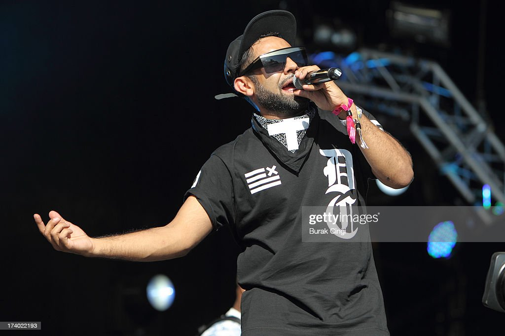Pavan Mukhi of Foreign Beggars performs on stage on day 1 of Lovebox Festival 2013 at Victoria Park on July 19, 2013 in London, England.