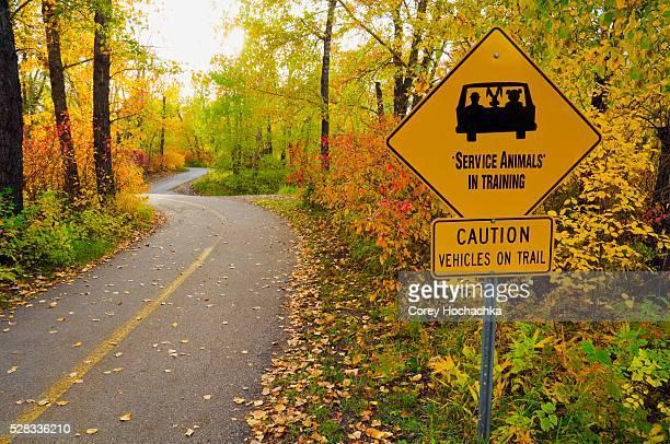Paved trail in autumn, Edmonton, Alberta, Canada