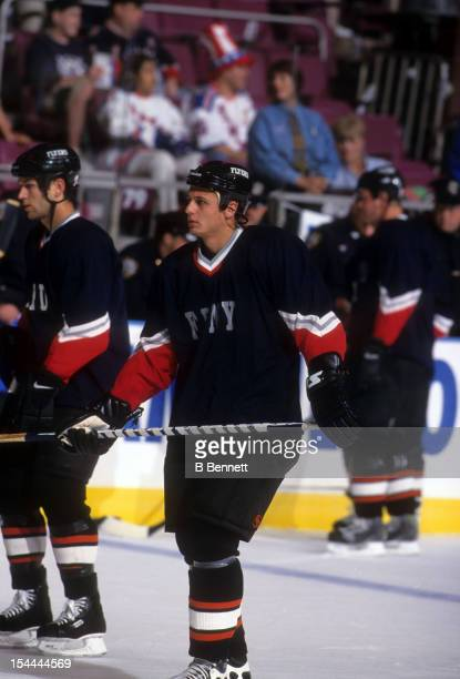 Pavel Brendl of the Philadelphia Flyers wears an NYFD jersey to support the victims of the September 11 attacks on New York City in September 2001 at...