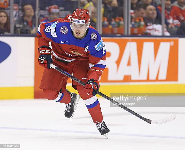 Pavel Buchnevich of Team Russia skates against Team Sweden during a semifinal game in the 2015 IIHF World Junior Hockey Championship at the Air...