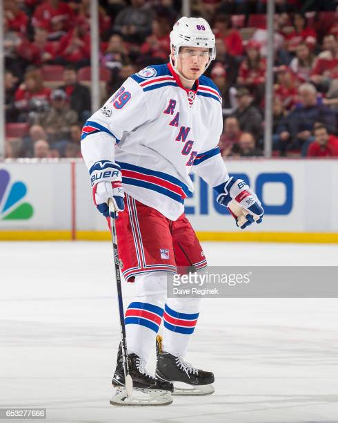 Pavel Buchnevich of the New York Rangers follows the play against the Detroit Red Wings during an NHL game at Joe Louis Arena on March 12 2017 in...