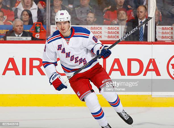 Pavel Buchnevich of the New York Rangers skates against the Calgary Flames at Scotiabank Saddledome on November 12 2016 in Calgary Alberta Canada