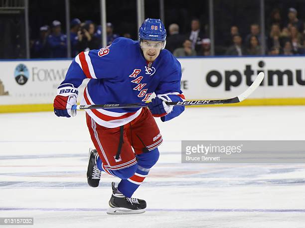 Pavel Buchnevich of the New York Rangers skates against the Philadelphia Flyers at Madison Square Garden on October 6 2016 in New York City The...