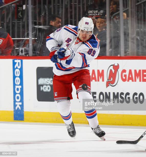 Pavel Buchnevich of the New York Rangers skates against the New Jersey Devils at the Prudential Center on March 21 2017 in Newark New Jersey The...