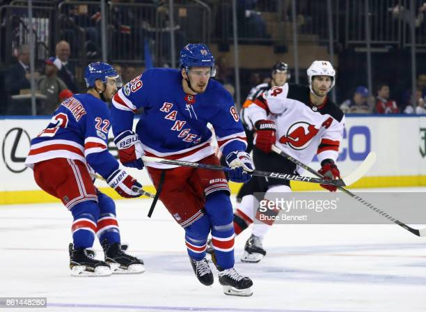 Pavel Buchnevich of the New York Rangers skates against the New Jersey Devils at Madison Square Garden on October 14 2017 in New York City The Devils...