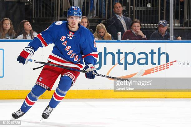 Pavel Buchnevich of the New York Rangers skates against the New York Islanders at Madison Square Garden on October 13 2016 in New York City