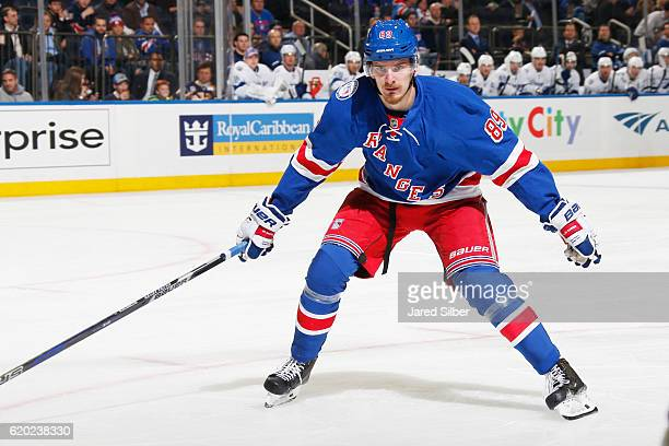 Pavel Buchnevich of the New York Rangers skates against the Tampa Bay Lightning at Madison Square Garden on October 30 2016 in New York City The New...