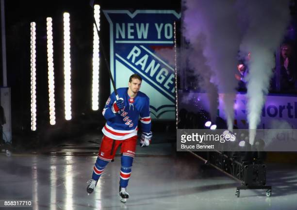 Pavel Buchnevich of the New York Rangers skates out to play against the Colorado Avalanche at Madison Square Garden on October 5 2017 in New York...
