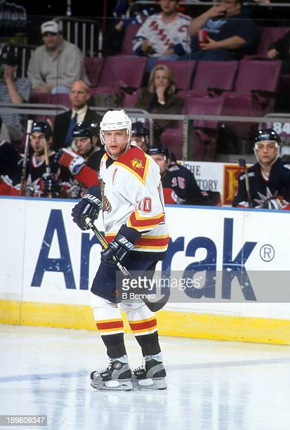 Pavel Bure of the Florida Panthers skates on the ice during an NHL game against the New York Rangers on March 21 2000 at the Madison Square Garden in...