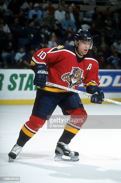 Pavel Bure of the Florida Panthers skates on the ice during an NHL game against the New York Islanders on February 24 2001 at the Nassau Coliseum in...