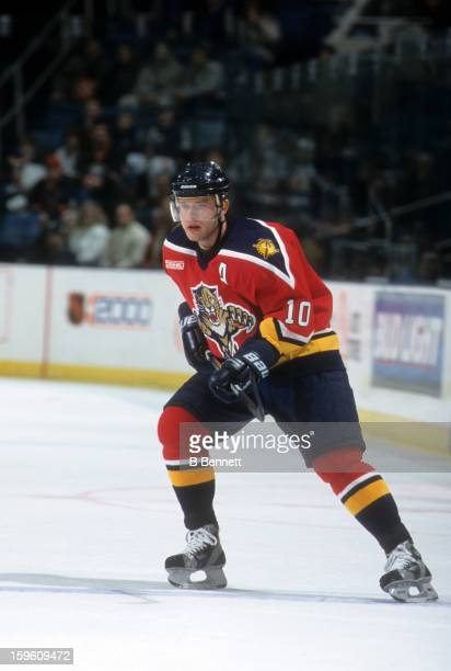 Pavel Bure of the Florida Panthers skates on the ice during an NHL game against the New York Islanders on April 9 2000 at the Nassau Coliseum in...