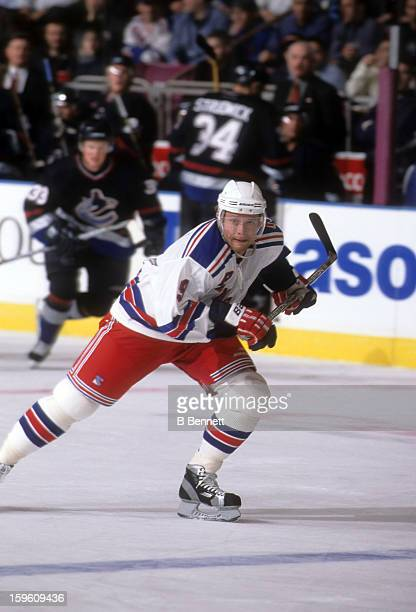 Pavel Bure of the New York Rangers skates on the ice during an NHL game against the Vancouver Canucks on March 19 2002 at the Madison Square Garden...