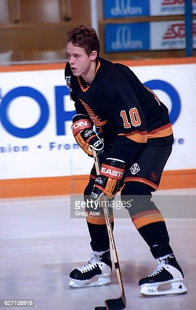 Pavel Bure of the Vancouver Canucks skates in warmup prior to a game against the Toronto Maple on December 7 1991 at Maple Leaf Gardens in Toronto...