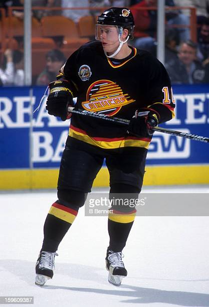 Pavel Bure of the Vancouver Canucks skates on the ice during an NHL game against the Los Angeles Kings on March 4 1995 at the Great Western Forum in...
