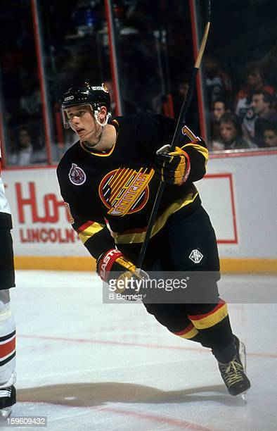 Pavel Bure of the Vancouver Canucks skates on the ice during an NHL game against the Philadelphia Flyers on October 22 1992 at the Spectrum in...