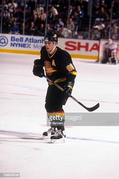 Pavel Bure of the Vancouver Canucks skates on the ice during an NHL game against the New York Rangers on November 11 1996 at the Madison Square...