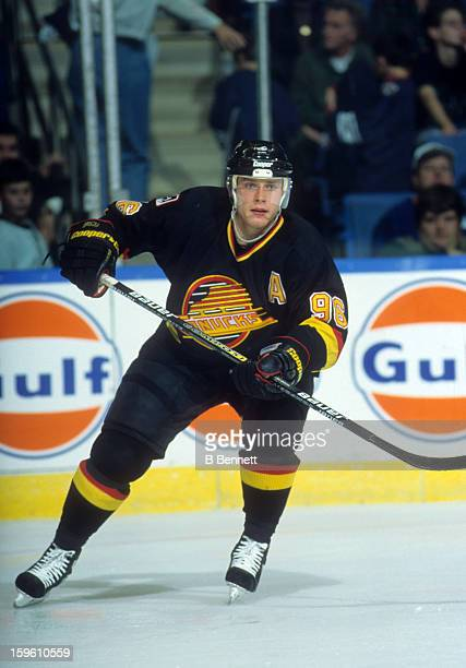 Pavel Bure of the Vancouver Canucks skates on the ice during an NHL game against the New York Islanders on November 13 1996 at the Nassau Coliseum in...