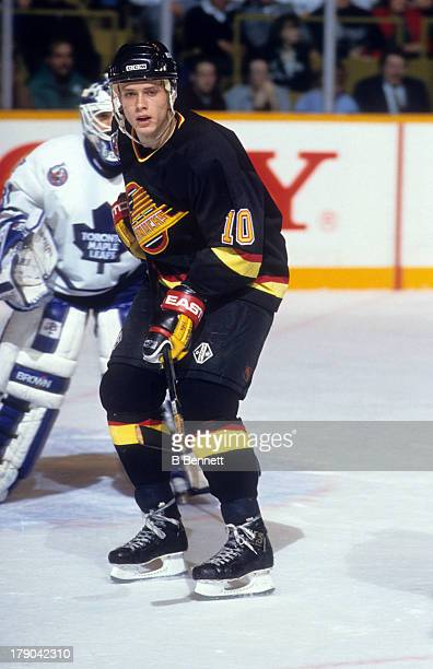 Pavel Bure of the Vancouver Canucks skates on the ice during an NHL game against the Toronto Maple Leafs on January 6 1993 at the Maple Leaf Gardens...