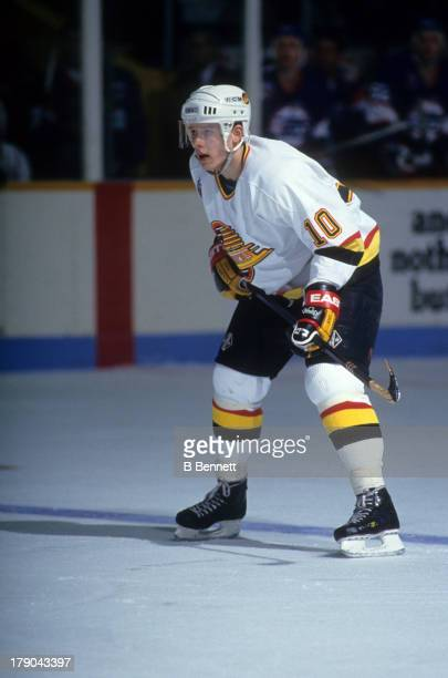 Pavel Bure of the Vancouver Canucks skates on the ice during an NHL game against the Winnipeg Jets on March 18 1993 at the Pacific Coliseum in...