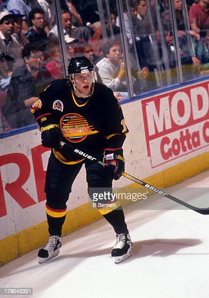 Pavel Bure of the Vancouver Canucks skates on the ice during Game 1 of the 1994 Stanley Cup Finals against the New York Rangers on May 31 1994 at the...