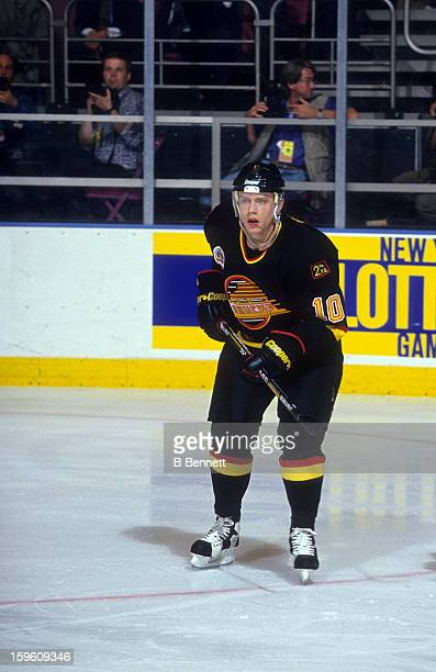 Pavel Bure of the Vancouver Canucks skates on the ice during Game 5 of the 1994 Stanley Cup Finals against the New York Rangers on June 9 1994 at the...
