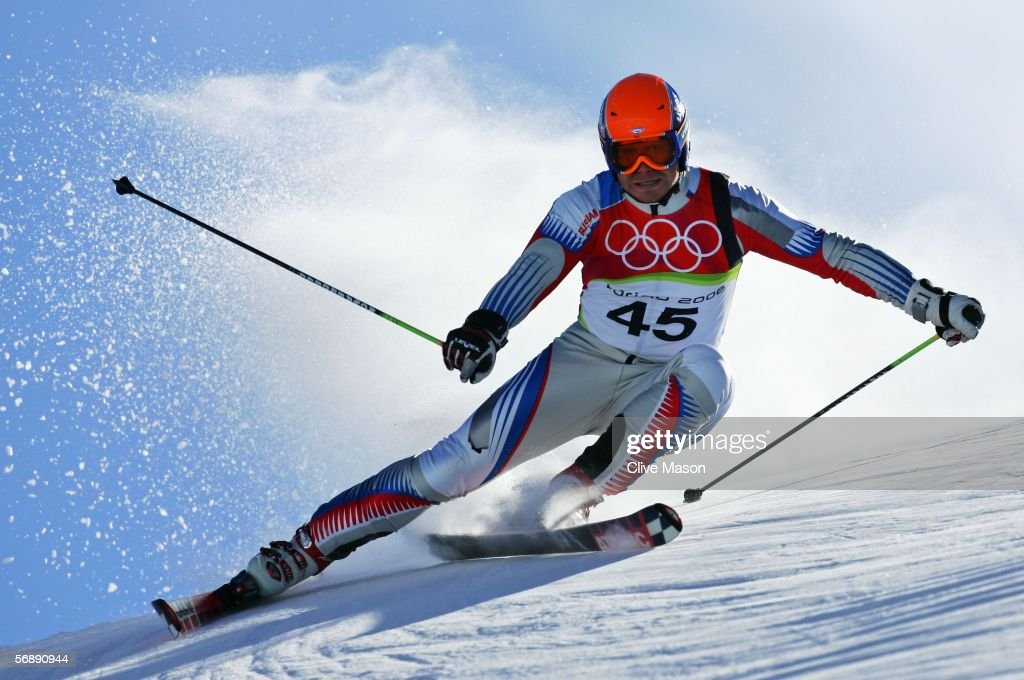 Pavel Chestakov of Russia competes in the First Run of the Mens Alpine Skiing Giant Slalom competition on Day 10 of the 2006 Turin Winter Olympic...