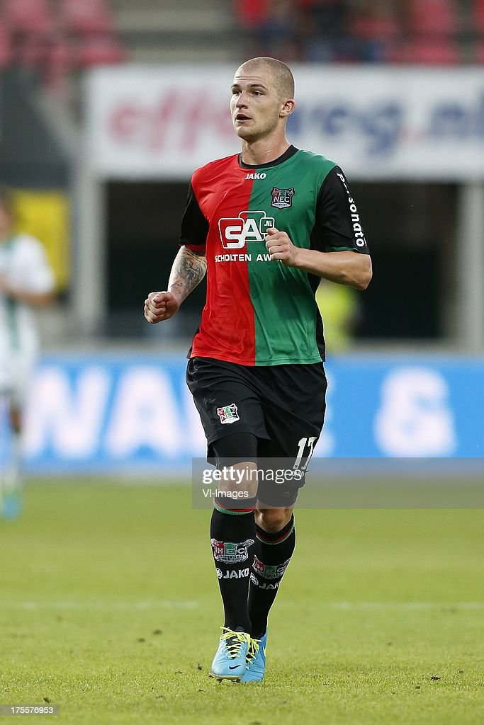 Pavel Cmovs of NEC during the Dutch Eredivisie match between NEC Nijmegen and FC Groningen on August 3 2013 at the Goffert stadium in Nijmegen The...