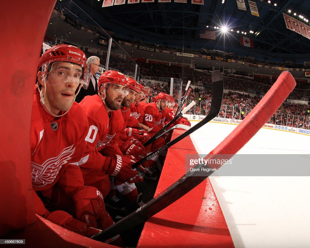 Pavel Datsyuk #13, Henrik Zetterberg #40 and Todd Bertuzzi #44 of the Detroit Red Wings look on from the bench during an NHL game against the Nashville Predators at Joe Louis Arena on November 19, 2013 in Detroit, Michigan. Nashville defeated Detroit 2-0