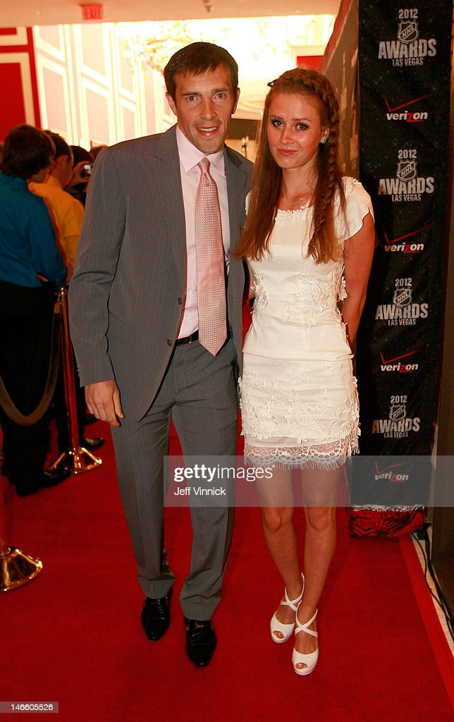 Pavel Datsyuk of the Detroit Red Wings and guest arrive before the 2012 NHL Awards at the Encore Theater at the Wynn Las Vegas on June 20, 2012 in Las Vegas, Nevada.