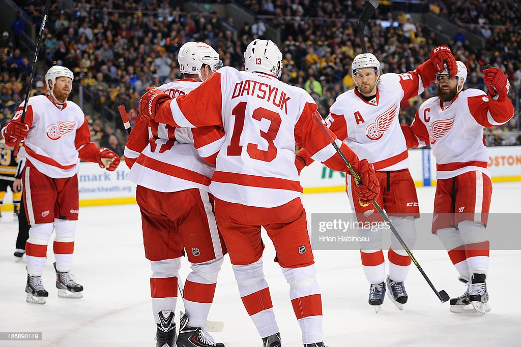 <a gi-track='captionPersonalityLinkClicked' href=/galleries/search?phrase=Pavel+Datsyuk&family=editorial&specificpeople=202893 ng-click='$event.stopPropagation()'>Pavel Datsyuk</a> #13 of the Detroit Red Wings celebrates his goal against the Boston Bruins in Game Five of the First Round of the 2014 Stanley Cup Playoffs at TD Garden on April 26, 2014 in Boston, Massachusetts.