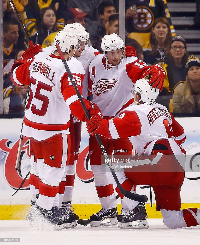 <a gi-track='captionPersonalityLinkClicked' href=/galleries/search?phrase=Pavel+Datsyuk&family=editorial&specificpeople=202893 ng-click='$event.stopPropagation()'>Pavel Datsyuk</a> #13 of the Detroit Red Wings celebrates his goal in the third period with teammate <a gi-track='captionPersonalityLinkClicked' href=/galleries/search?phrase=Justin+Abdelkader&family=editorial&specificpeople=2271858 ng-click='$event.stopPropagation()'>Justin Abdelkader</a> #8 against the Boston Bruins in Game One of the First Round of the 2014 NHL Stanley Cup Playoffs at TD Garden on April 18, 2014 in Boston, Massachusetts.