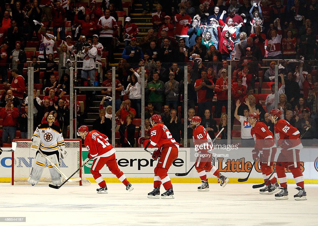 Pavel Datsyuk #13 of the Detroit Red Wings celebrates his second-period goal with Niklas Kronwall #55, Henrik Zetterberg #40, Justin Abdelkader #8 and Danny DeKeyser #65 in front of Tuukka Rask #40 of the Boston Bruins during Game Four of the First Round of the 2014 NHL Stanley Cup Playoffs at Joe Louis Arena on April 24, 2014 in Detroit, Michigan.