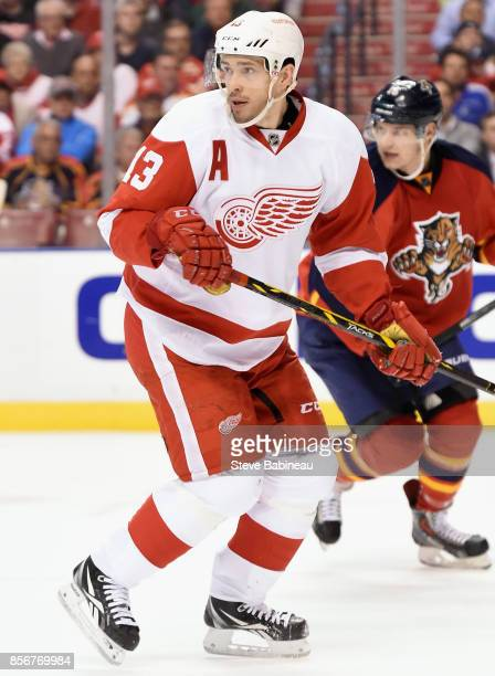 Pavel Datsyuk of the Detroit Red Wings plays in a game against the Florida Panthers at BBT Center on January 27 2015 in Sunrise Florida