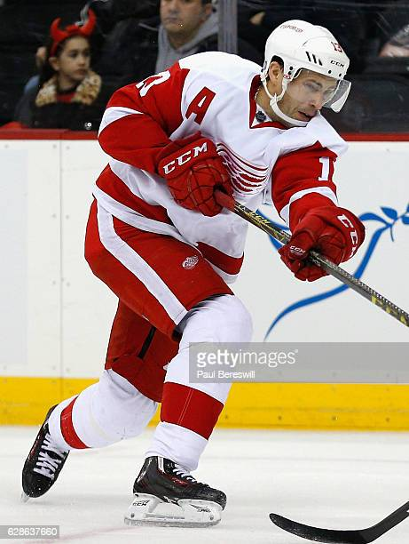 Pavel Datsyuk of the Detroit Red Wings plays in the game against the New Jersey Devils at the Prudential Center on January 4 2016 in Newark New Jersey