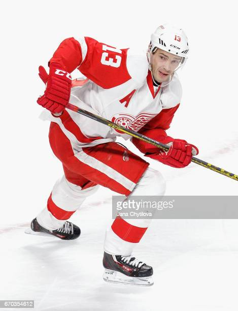 Pavel Datsyuk of the Detroit Red Wings plays in the game against the Montreal Canadiens at Bell Centre on March 29 2016 in Montreal Quebec Canada