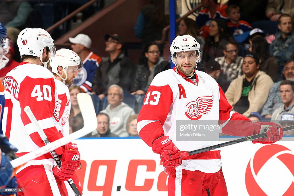 <a gi-track='captionPersonalityLinkClicked' href=/galleries/search?phrase=Pavel+Datsyuk&family=editorial&specificpeople=202893 ng-click='$event.stopPropagation()'>Pavel Datsyuk</a> #13 of the Detroit Red Wings prepares for a face off in a game against the Edmonton Oilers on November 2, 2013 at Rexall Place in Edmonton, Alberta, Canada.