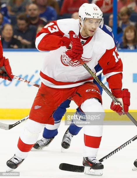 Pavel Datsyuk of the Detroit Red Wings warms up before the game against the Tampa Bay Lightning at Amalie Arena on March 22 2016 in Tampa Florida