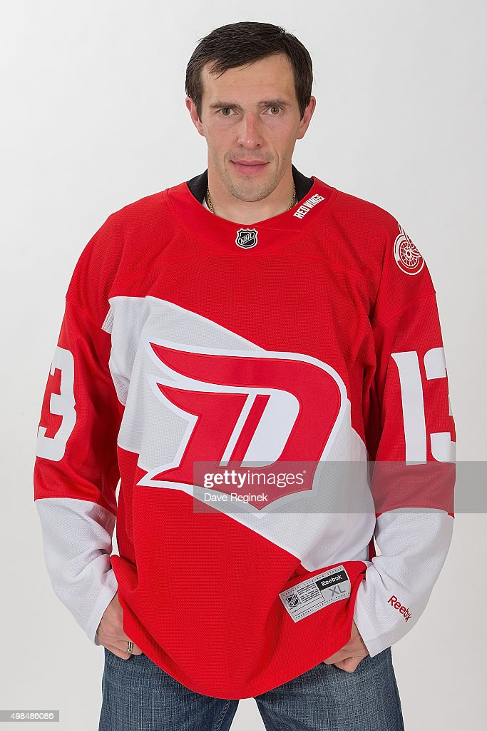 ... Pavel Datsyuk 13 of the Detroit Red Wings wears the new Stadium Series  Jersey at Red Wings unveil 2016 ... 027b60401